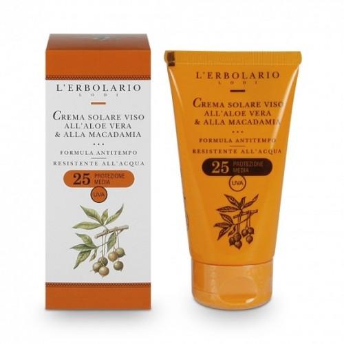 Erbolario - Crema Solare Viso all'Aloe Vera e alla Macadamia - SPF 25 (ml.75)