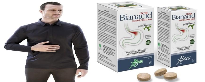 NeoBianacid Acidità e Reflusso è un prodotto che va a potenziare la protezione di stomaco ed esofago, procurando un rapido sollievo da bruciore, dolore e dalla sensazione di acidità.